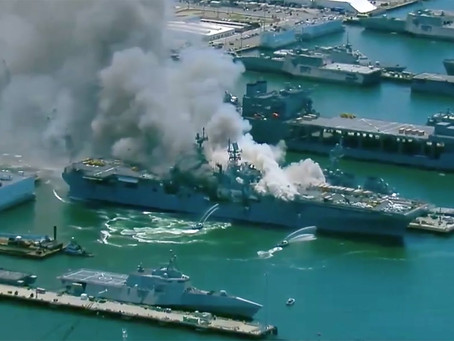 US Navy LHA Damaged in Fire