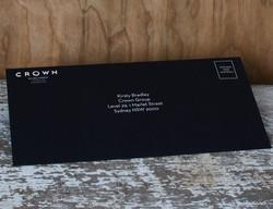 Black envelope white writing