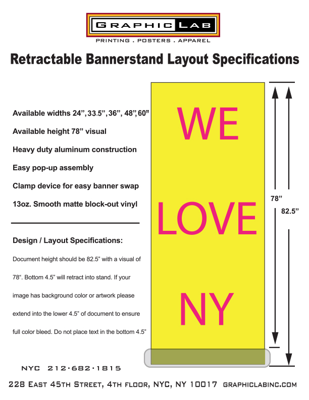 BANNER STAND SPECIFICATIONS