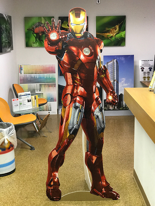 Custom cardboard cutouts of Marvel