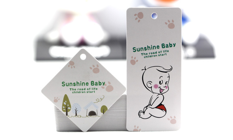 Custom rectangle hole punch hang tag