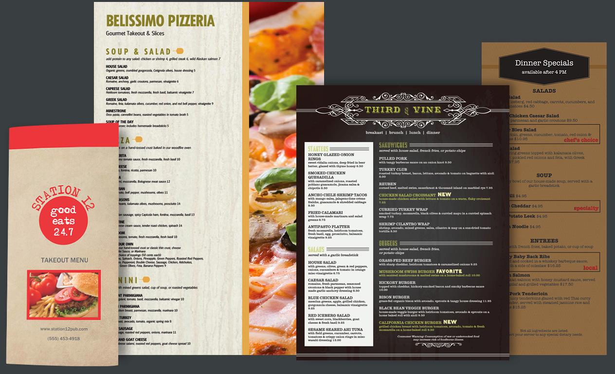 Laminated menus bifold, flat, trifo
