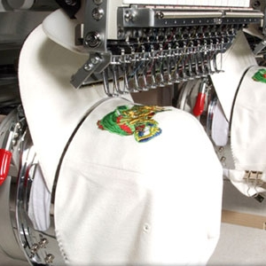 Embroidery machine in action