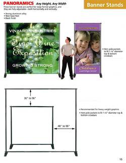 8x8 banner stand size reference chart