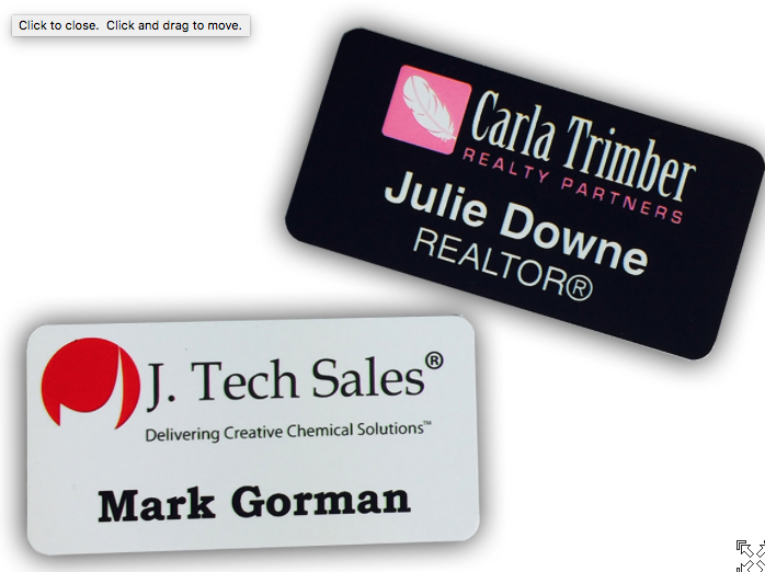 Name badges with lamination round corners
