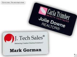 Name badges with lamination round corners