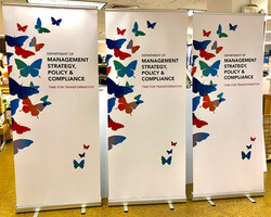 Rollup Zoom meeting backdrop bannerstand