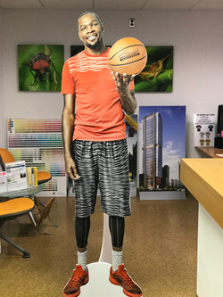 Life size cut-outs of NBA basketball