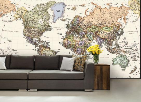 Custom wall maps wallpaper