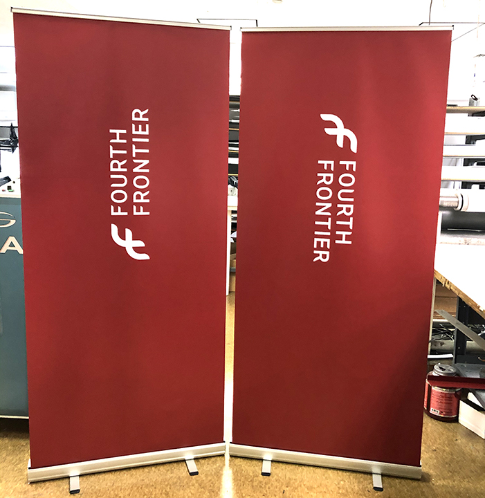Rollup virtual meeting backdrop banner stand