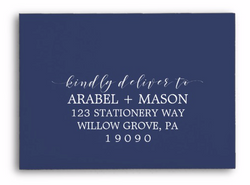 Blue navy colored envelope white ink