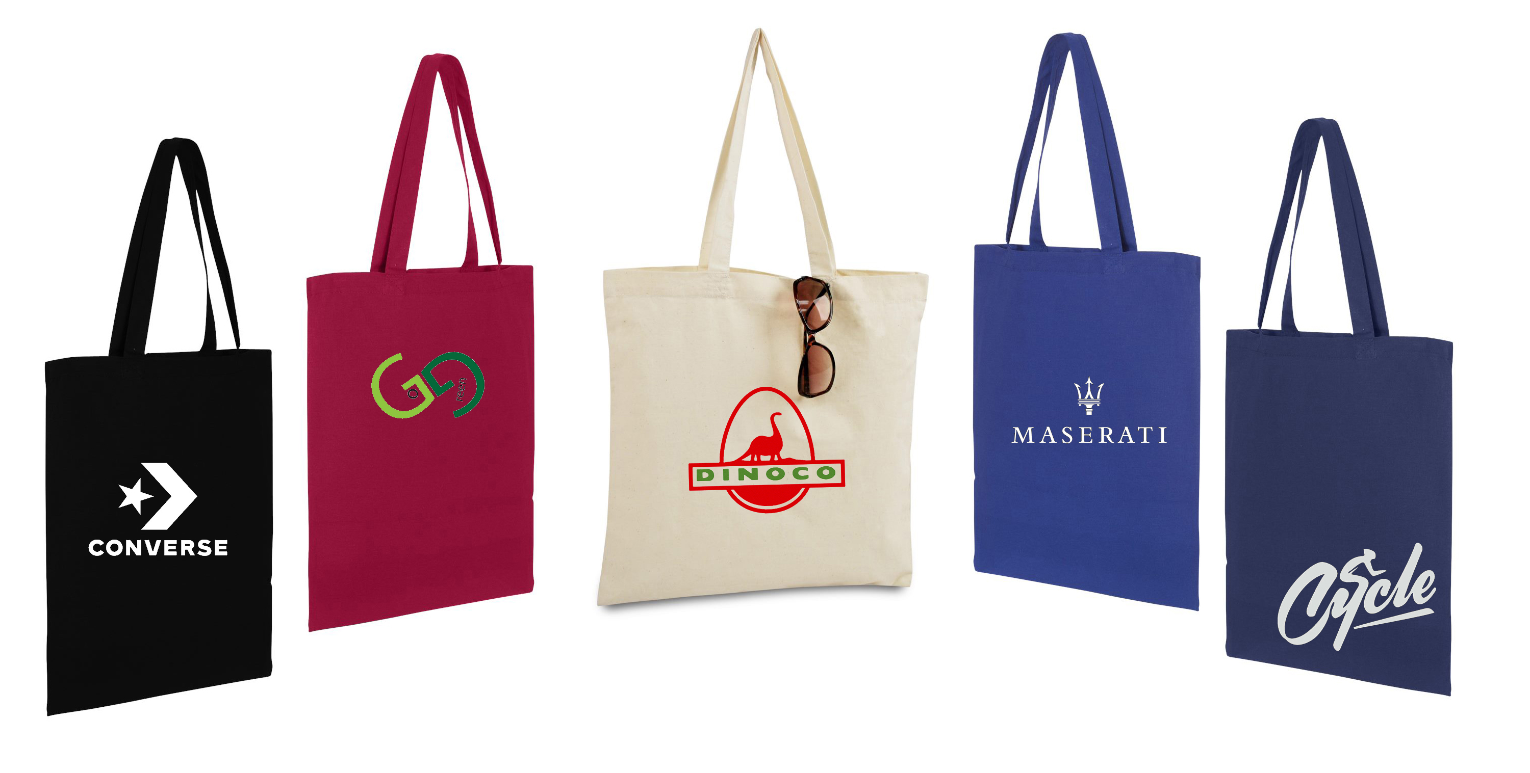 Tote bags with custom logos and decoration