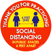 Social distance adhesive decal sticker for floor window