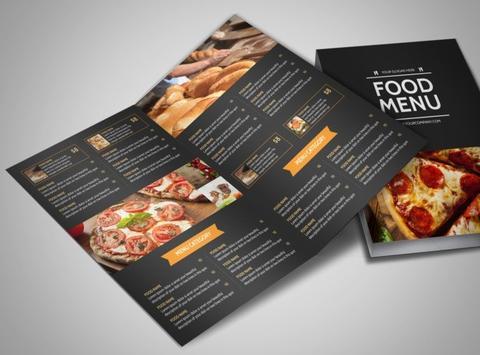 Pizza menu bi-fold brochure laminate