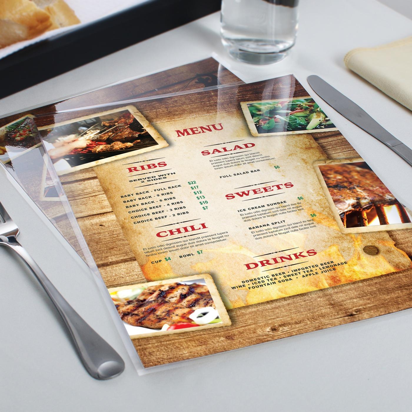 Laminated food menu