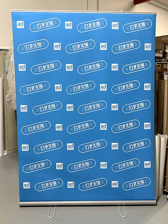 Zoom meeting backdrop bannerstand