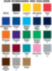 Color chart for our standard colo inks we use only when screen printing. Custom colors are available