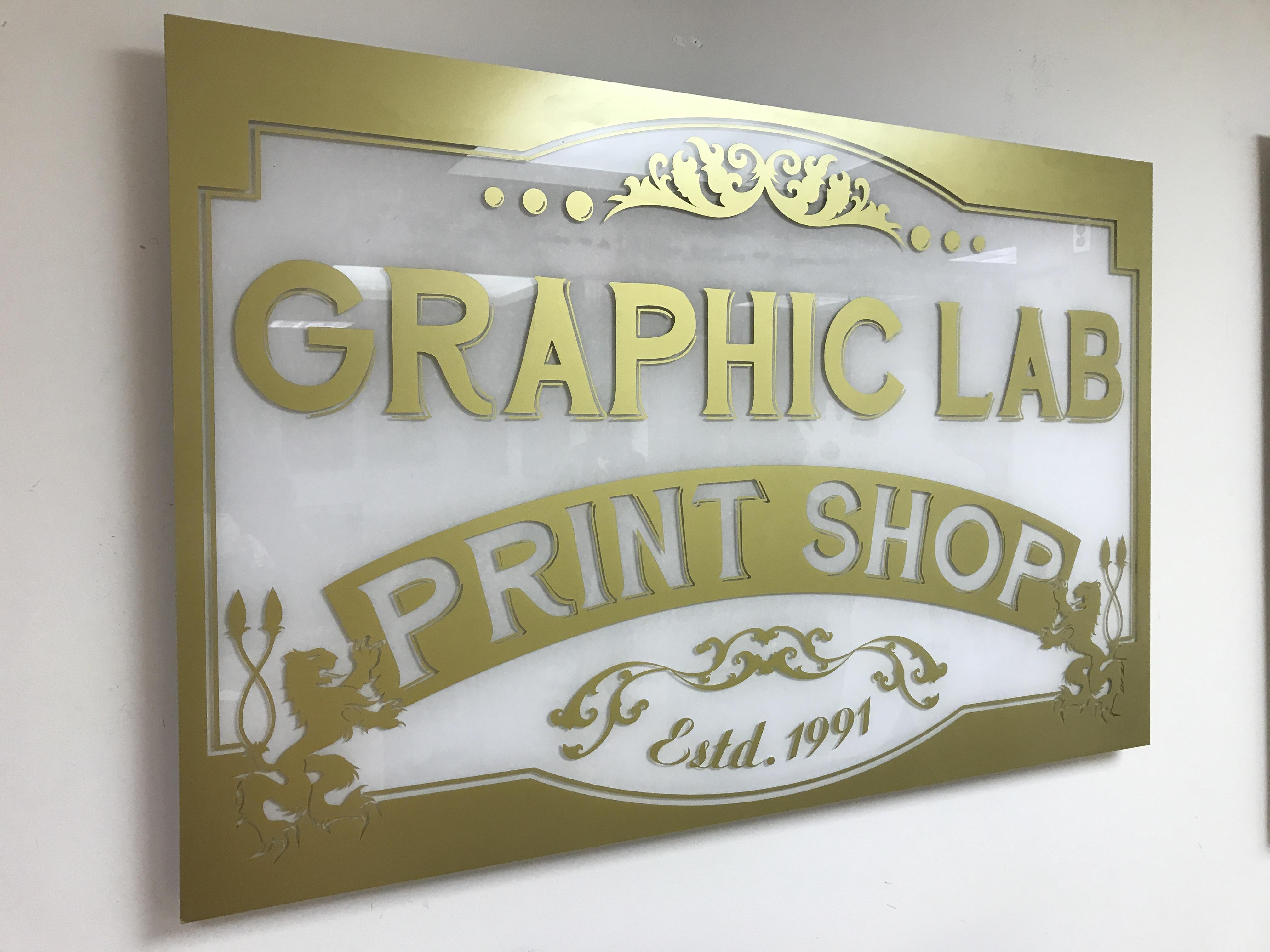 Frosted Plexi vinyl lettering
