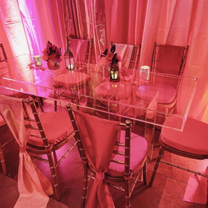 Ghost Table with gold chiavari chairs