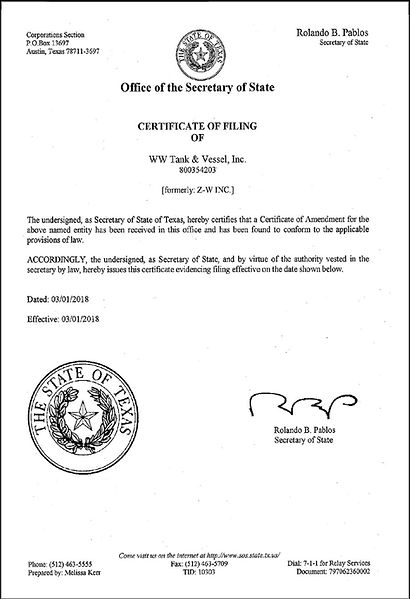 Texas Secretary of State Certificate of Filing