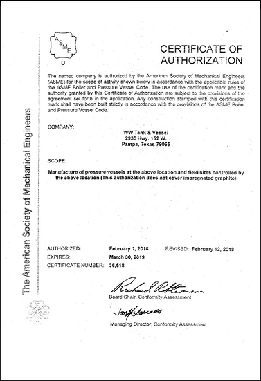 ASME Certificate of Authorization