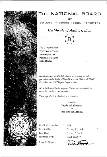 WW National Board Certificate of Authorization