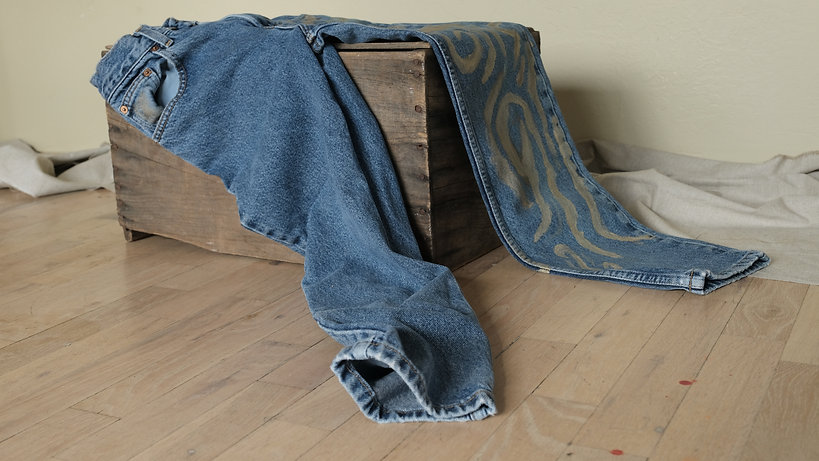 Blue gold jean on box.JPG