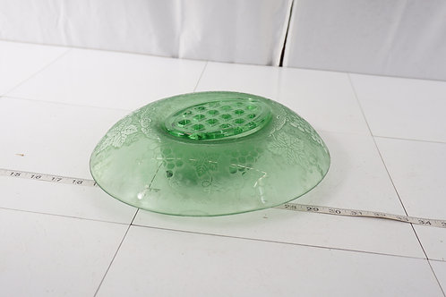 Depression Green Glass Bowl With Flower Frog