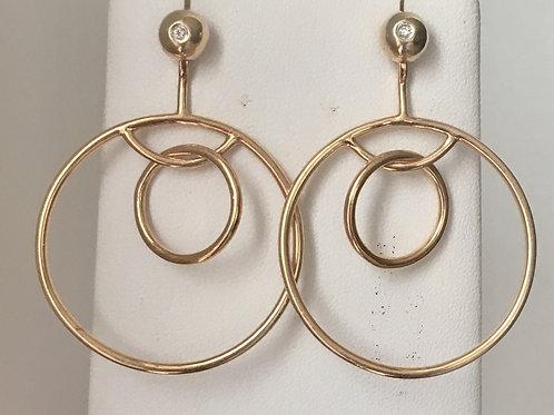 Two in one diamod studs and hoop earrings