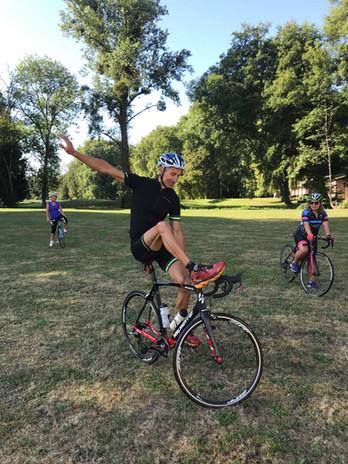 Exercice d'équilibre vélo