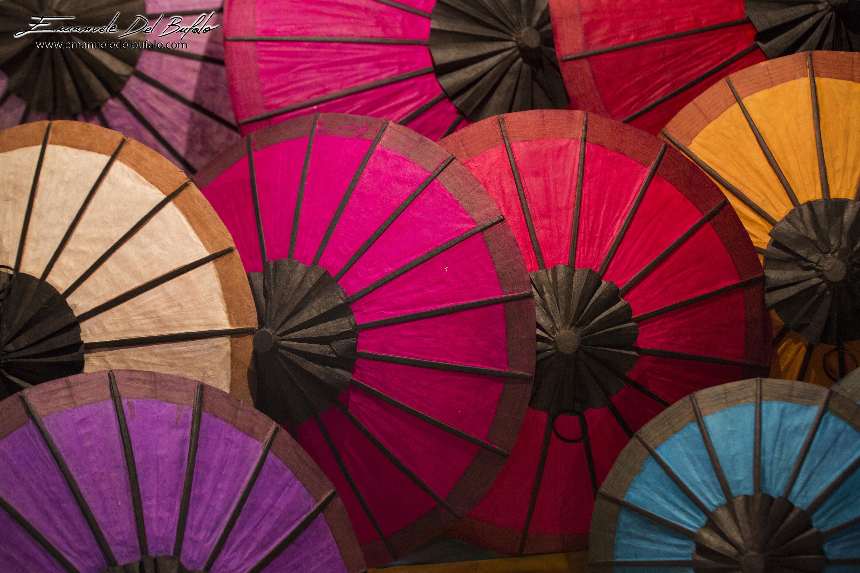 www.emanueledelbufalo.com #asia #laos #market #umbrella #colors #luang_prabang