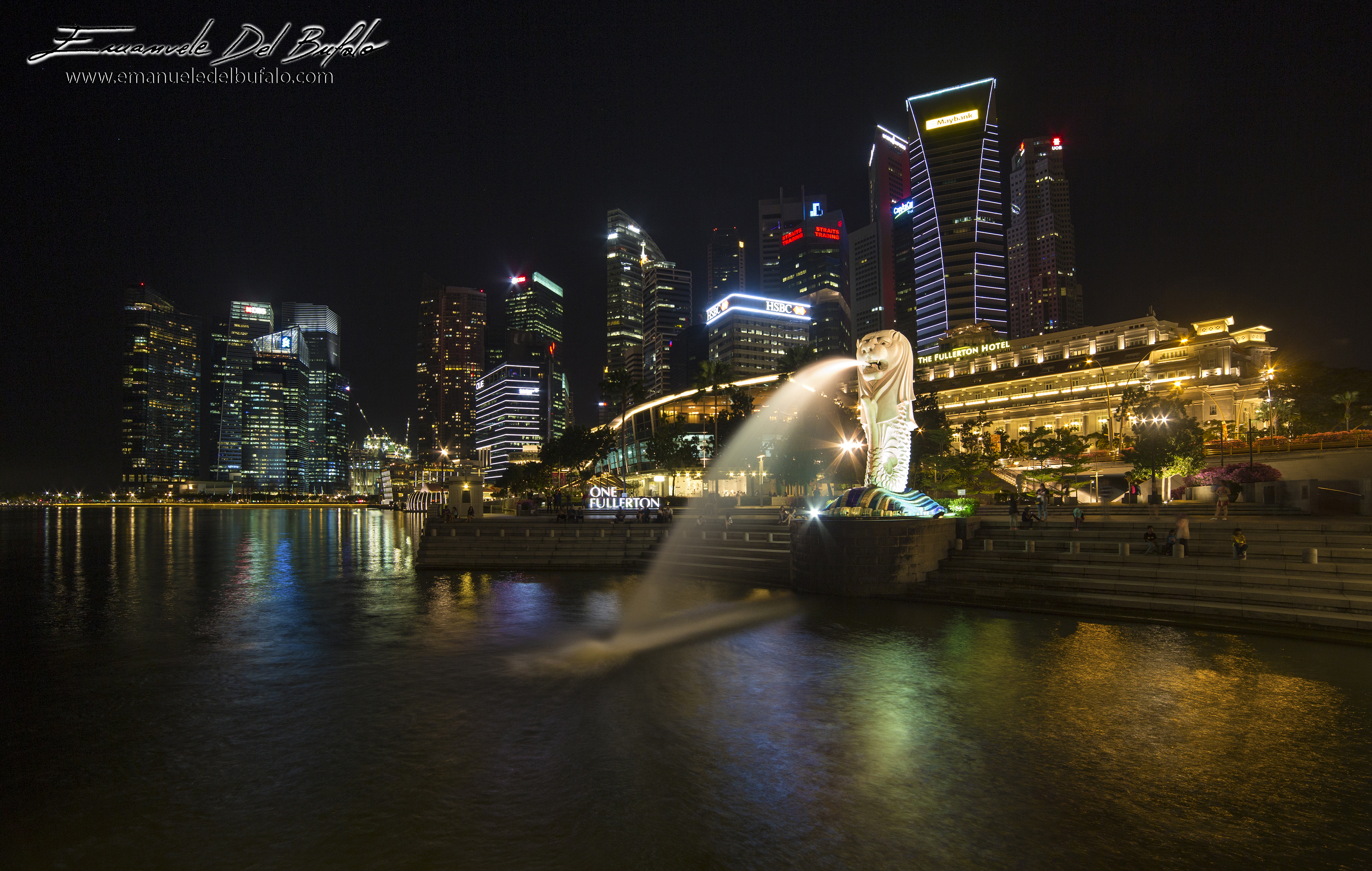 www.emanueledelbufalo.com #singapore #lion #skiline #night