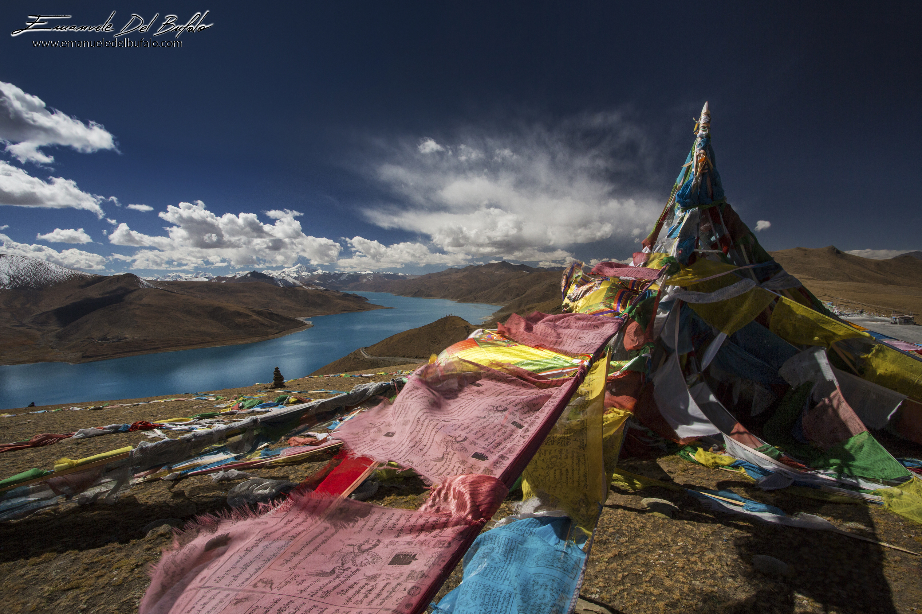 www.emanueledelbufalo.com #tibet #himalayas #flags #lake #landscape #the long term traveler