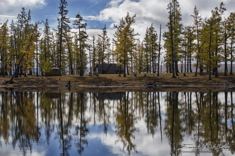 www.emanueledelbufalo.com #mongolia #lake #asia #house #tree #mirror #landscape #wild #travel