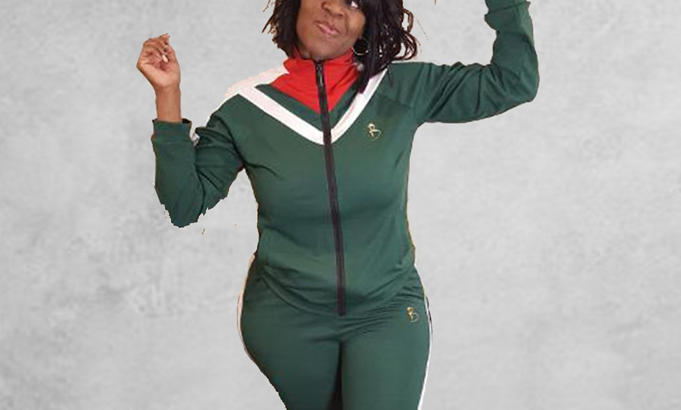 Women's Track Suit Green and Red
