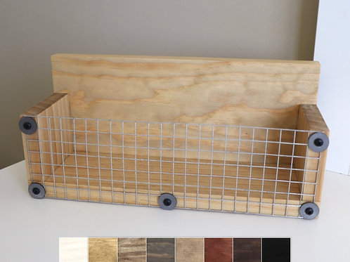 light wood basket shelf with squares showing choice of colors