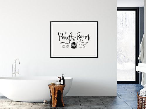 powder room art printed and framed over tub