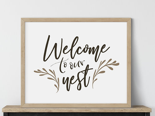 printed welcome to our nest art in wood frame