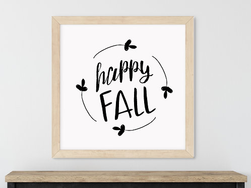 happy fall printable art in wood frame