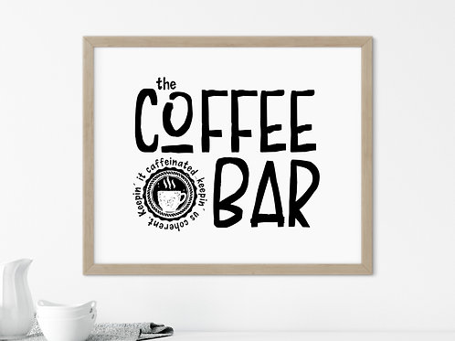 the coffee bar printed sign in wood frame