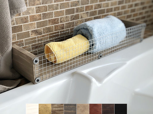 farmhouse wood tray with chicken wire displayed in a bathroom and holding towels with examples of color choices