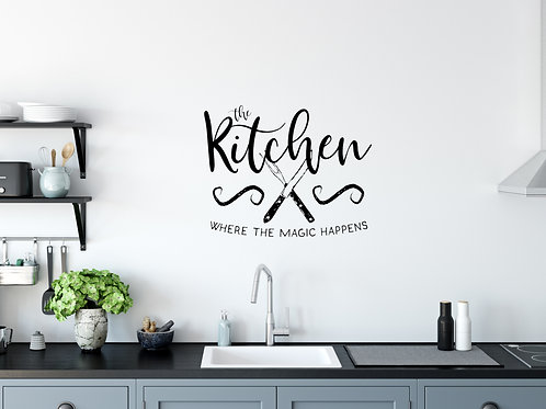 kitchen magic sign idea vinyl on wall