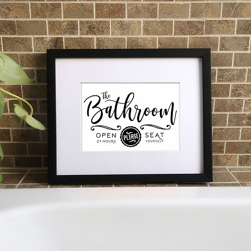 please seat yourself funny bathroom printable art in frame over tub with plant