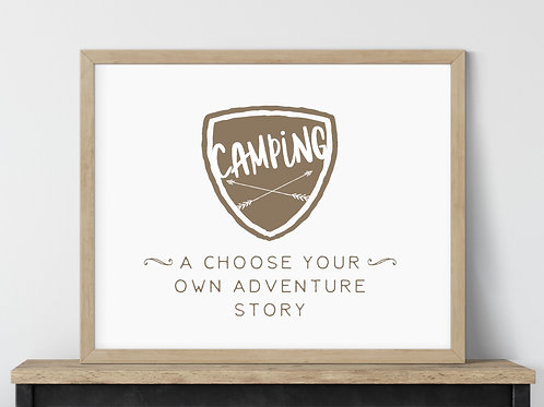 camping a choose your own adventure story sign in wood frame