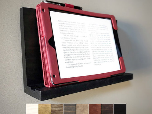 tablet holder with examples of choices of eight wood stain colors