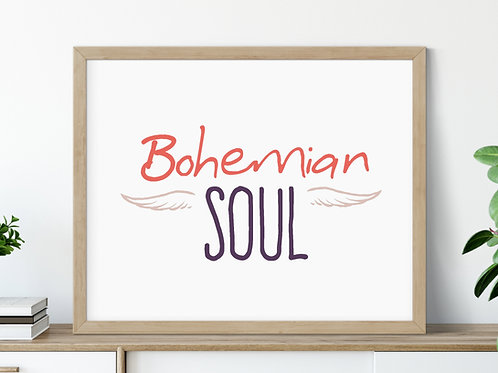 bohemian soul sign in purple and coral in wood frame