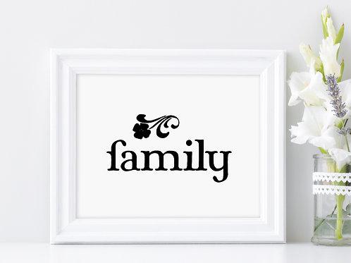 family sign in white frame