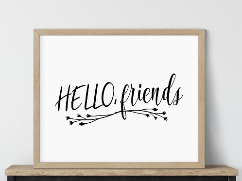 hello friends sign wood frame