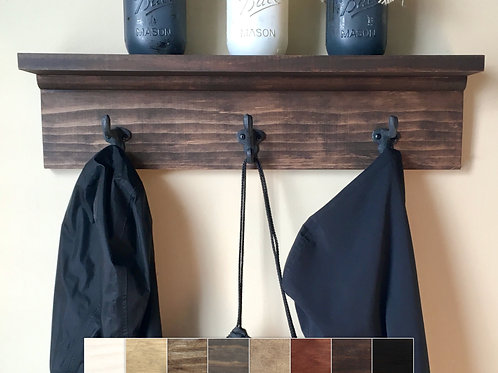 brown coat rack with mason jar decor on shelf choice of eight colors