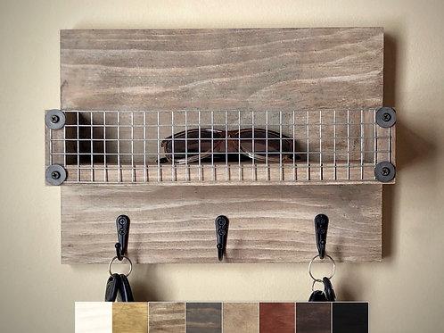 Key Rack with Shelf, 12 Inch Wide, Rustic Farmhouse Style